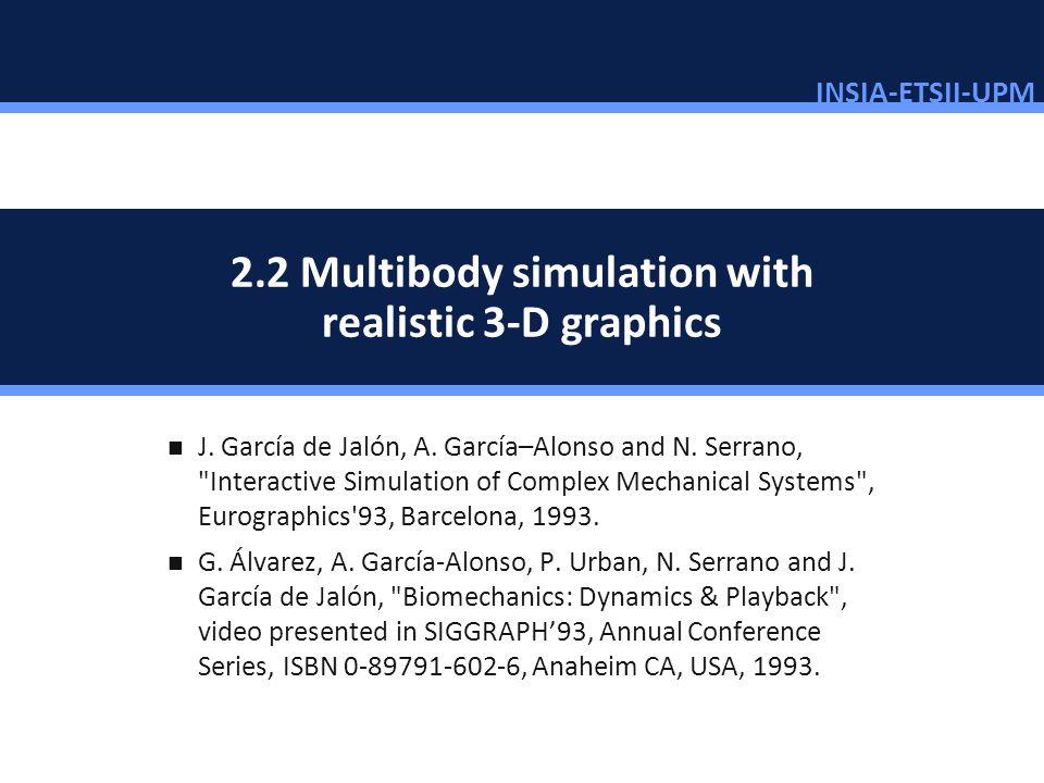 INSIA-ETSII-UPM 25/46 2.2 Multibody simulation with realistic 3-D graphics J. García de Jalón, A. García–Alonso and N. Serrano,