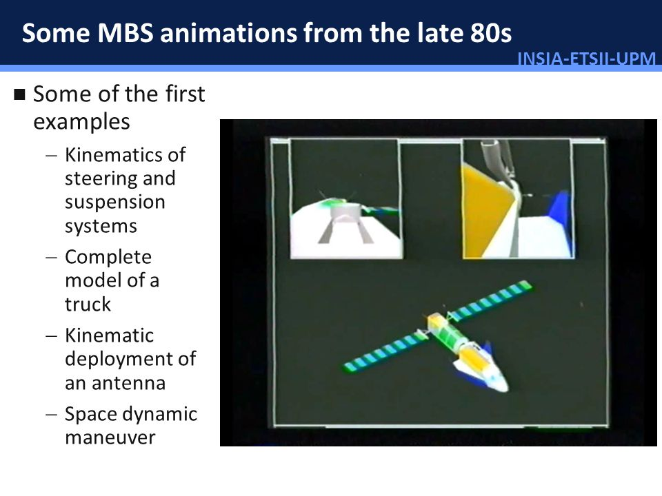 INSIA-ETSII-UPM 27/46 Some MBS animations from the late 80s Some of the first examples Kinematics of steering and suspension systems Complete model of