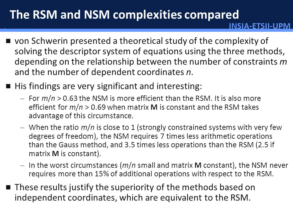INSIA-ETSII-UPM 32/46 Deo omnis gloria! The RSM and NSM complexities compared von Schwerin presented a theoretical study of the complexity of solving