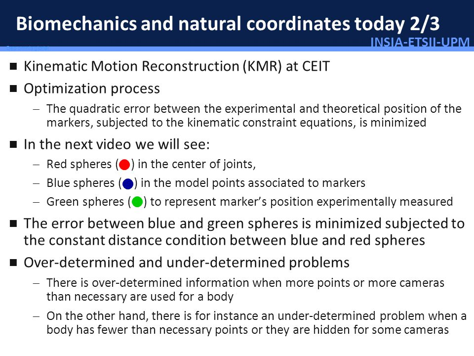 INSIA-ETSII-UPM 48/46 Deo omnis gloria! Biomechanics and natural coordinates today 2/3 Kinematic Motion Reconstruction (KMR) at CEIT Optimization proc