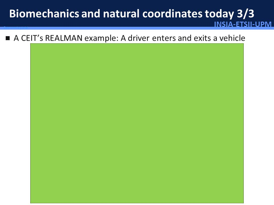 INSIA-ETSII-UPM 49/46 Deo omnis gloria! Biomechanics and natural coordinates today 3/3 A CEITs REALMAN example: A driver enters and exits a vehicle