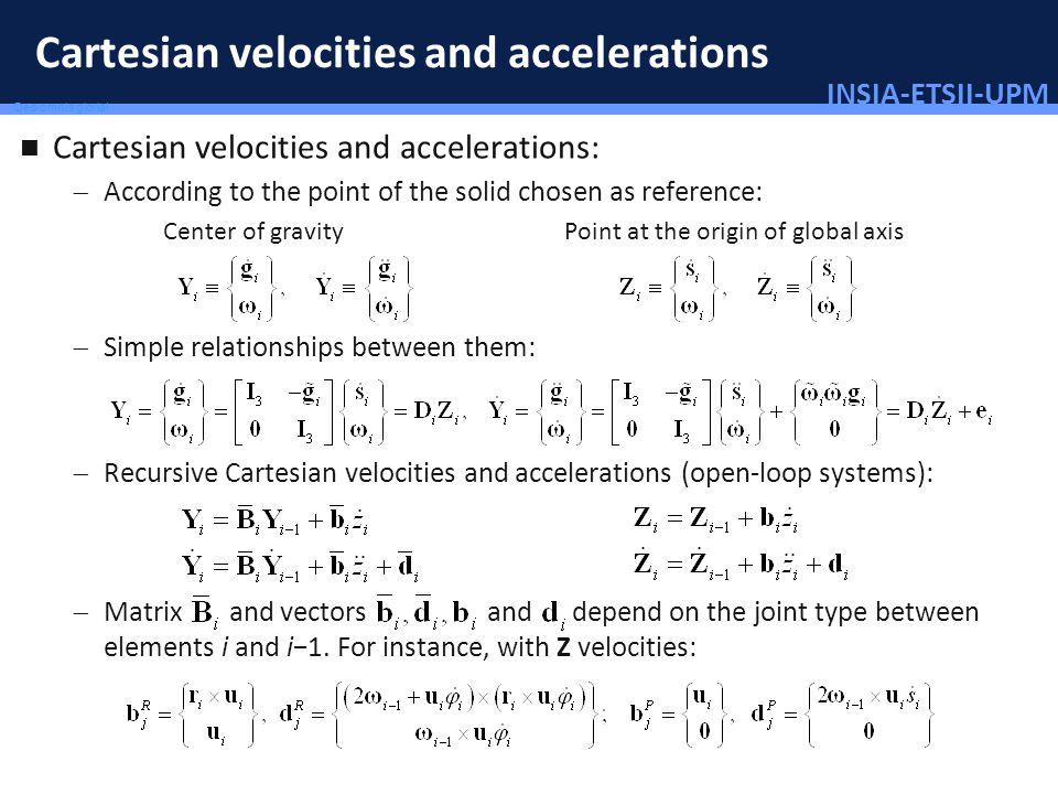 INSIA-ETSII-UPM 59/46 Deo omnis gloria! Cartesian velocities and accelerations Cartesian velocities and accelerations: According to the point of the s