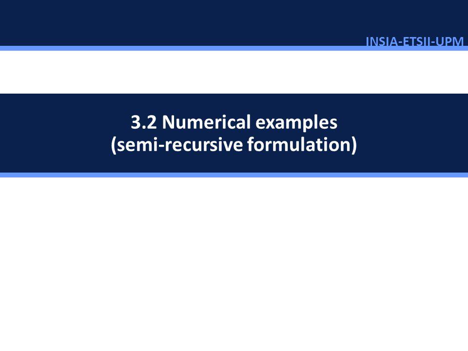 INSIA-ETSII-UPM 66/46 Numerical examples 3.2 Numerical examples (semi-recursive formulation)