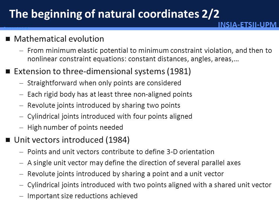 INSIA-ETSII-UPM 7/46 Deo omnis gloria! The beginning of natural coordinates 2/2 Mathematical evolution From minimum elastic potential to minimum const