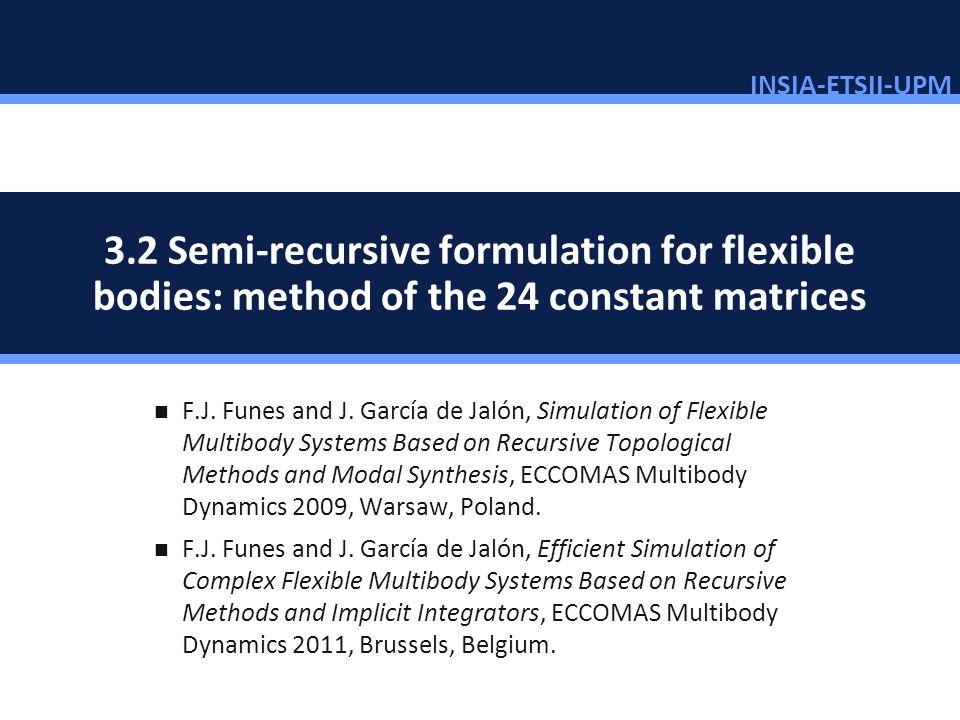 INSIA-ETSII-UPM 73/46 3.2 Semi-recursive formulation for flexible bodies: method of the 24 constant matrices F.J. Funes and J. García de Jalón, Simula