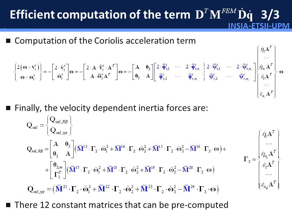 INSIA-ETSII-UPM 83/46 Deo omnis gloria! Efficient computation of the term 3/3 Computation of the Coriolis acceleration term Finally, the velocity depe