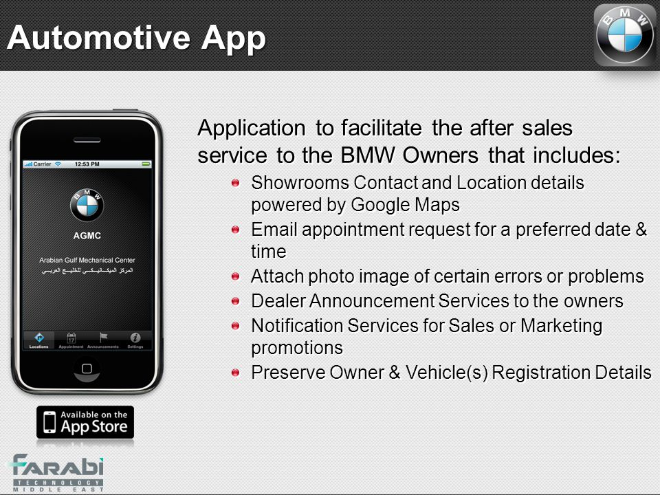 Automotive App Application to facilitate the after sales service to the BMW Owners that includes: Showrooms Contact and Location details powered by Go