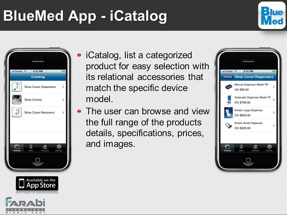 iCatalog, list a categorized product for easy selection with its relational accessories that match the specific device model. The user can browse and