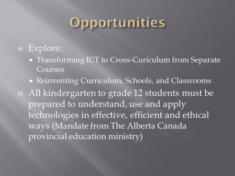 Explore: Transforming ICT to Cross-Curiculum from Separate Courses Reinventing Curriculum, Schools, and Classrooms All kindergarten to grade 12 studen