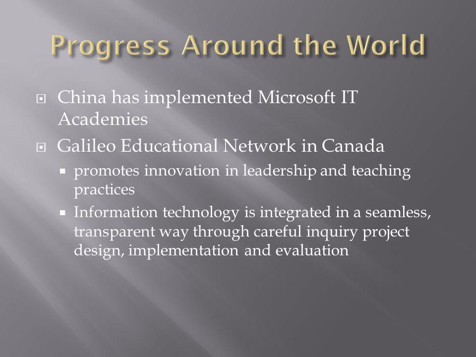 China has implemented Microsoft IT Academies Galileo Educational Network in Canada promotes innovation in leadership and teaching practices Information technology is integrated in a seamless, transparent way through careful inquiry project design, implementation and evaluation