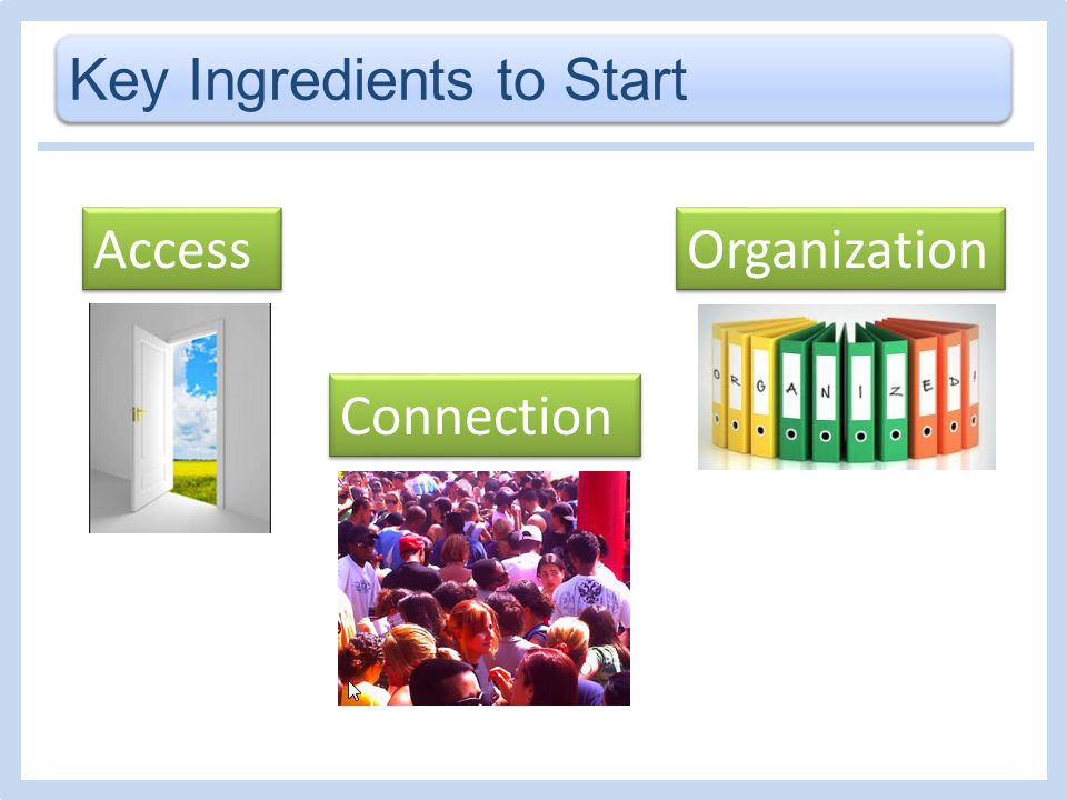 Key Ingredients to Start Access Organization Connection