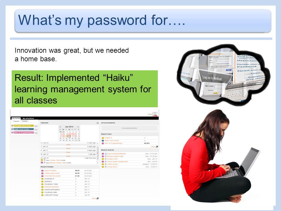 Whats my password for…. Result: Implemented Haiku learning management system for all classes Innovation was great, but we needed a home base.