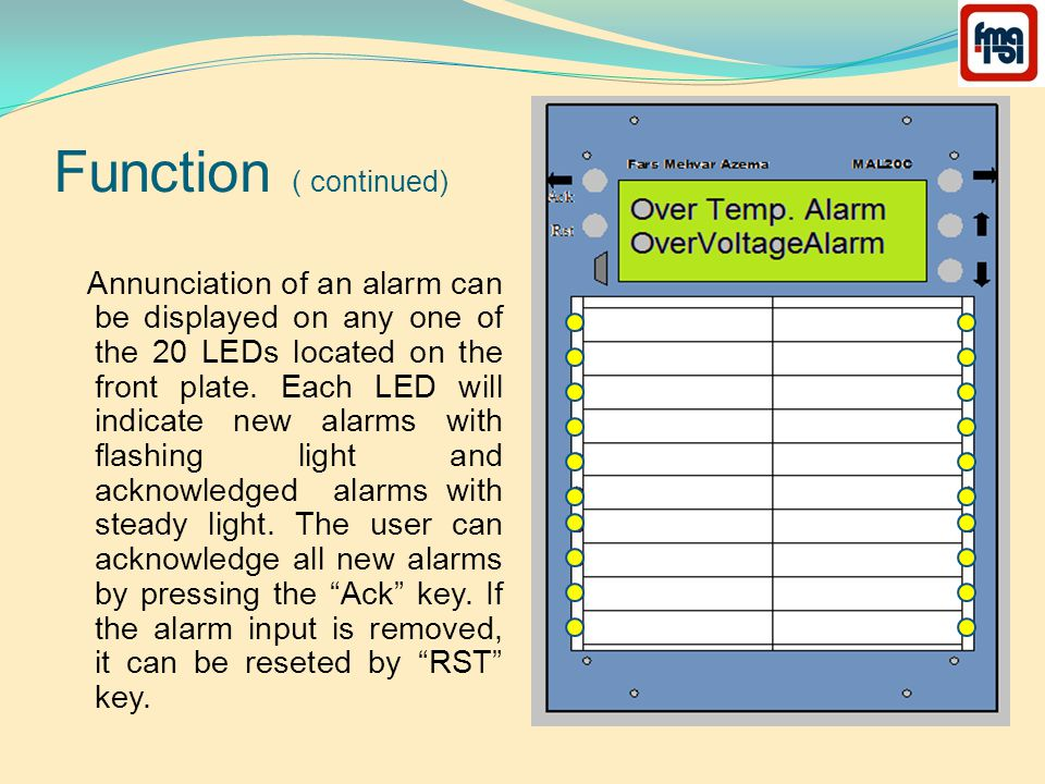 Function ( continued) Annunciation of an alarm can be displayed on any one of the 20 LEDs located on the front plate.