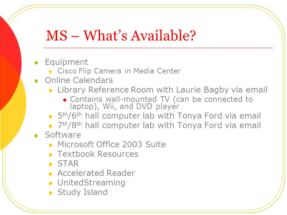 MS – Whats Available.
