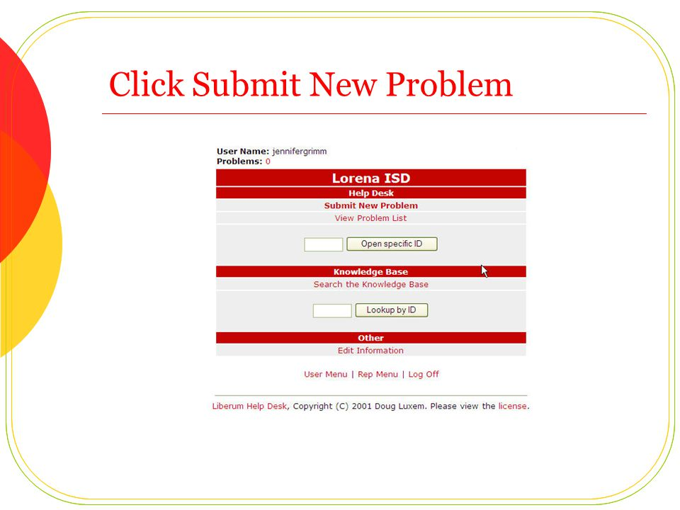 Click Submit New Problem
