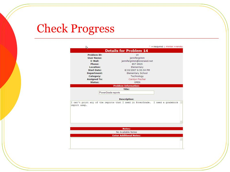 Check Status by: ID or Problem List