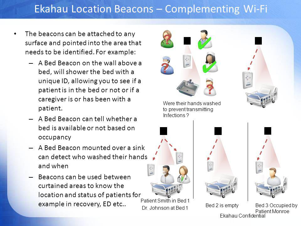 Ekahau Location Beacons – Complementing Wi-Fi The beacons can be attached to any surface and pointed into the area that needs to be identified.