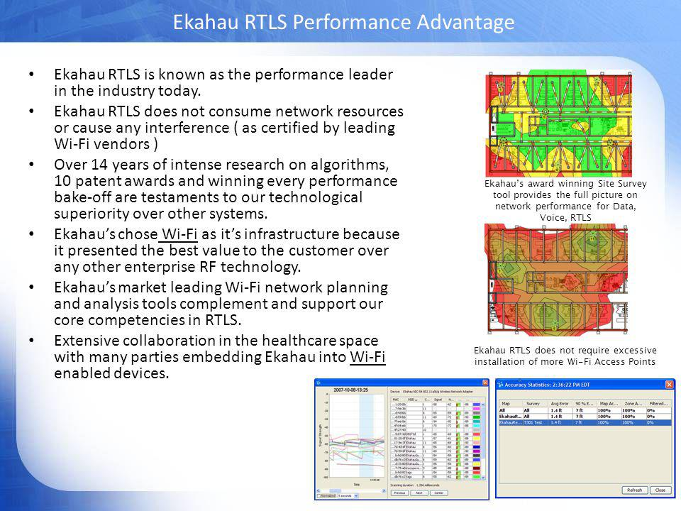 Ekahau Confidential Ekahau RTLS Performance Advantage Ekahau RTLS is known as the performance leader in the industry today.