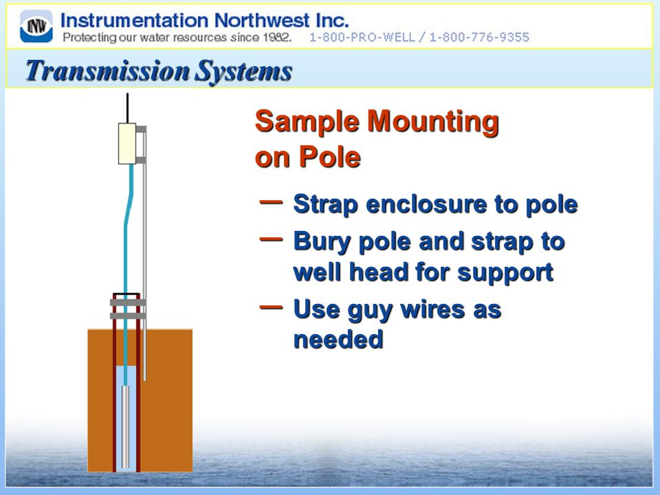 Transmission Systems Sample Mounting on Pole – Strap enclosure to pole – Bury pole and strap to well head for support – Use guy wires as needed