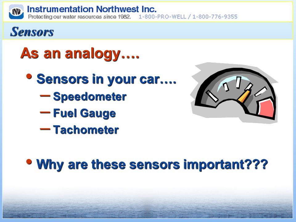 Sensors Sensors in your car…. Sensors in your car…. – Speedometer – Fuel Gauge – Tachometer Why are these sensors important??? Why are these sensors i