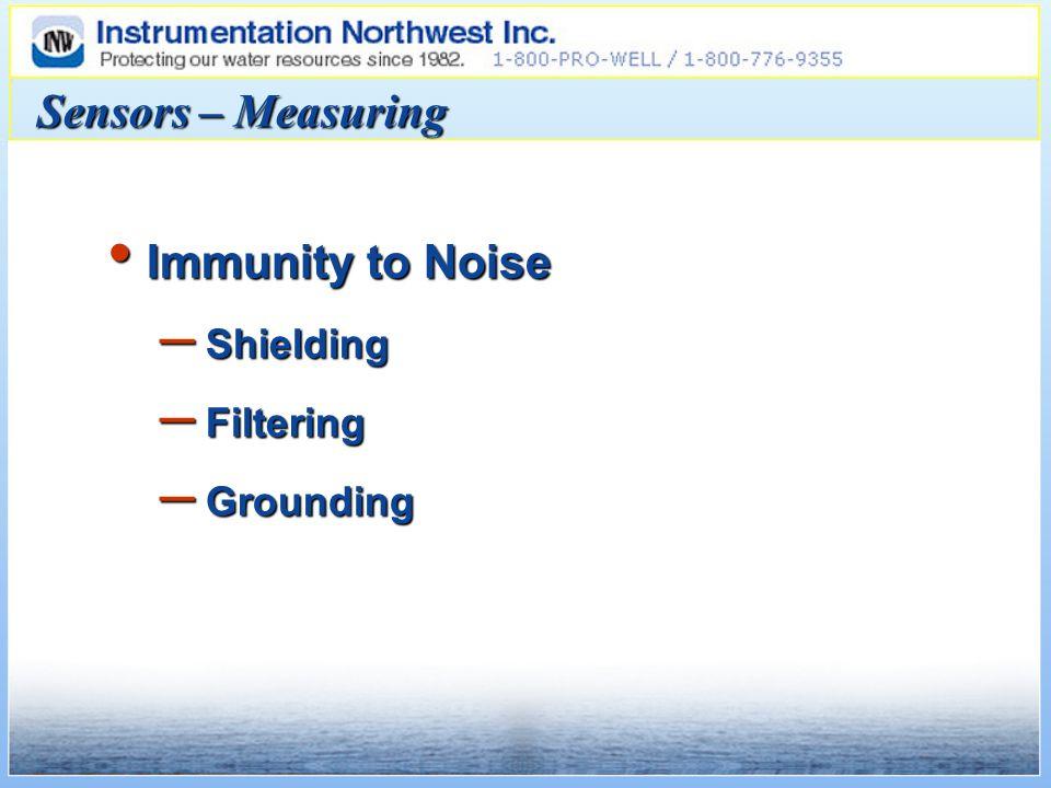Sensors – Measuring Immunity to Noise Immunity to Noise – Shielding – Filtering – Grounding