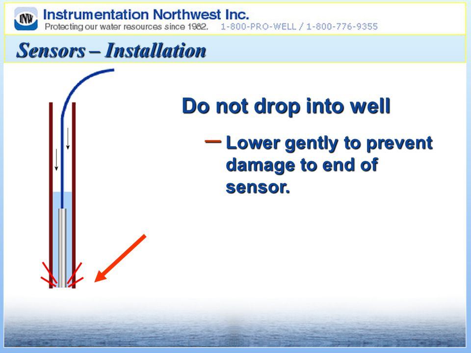 Sensors – Installation Do not drop into well – Lower gently to prevent damage to end of sensor.