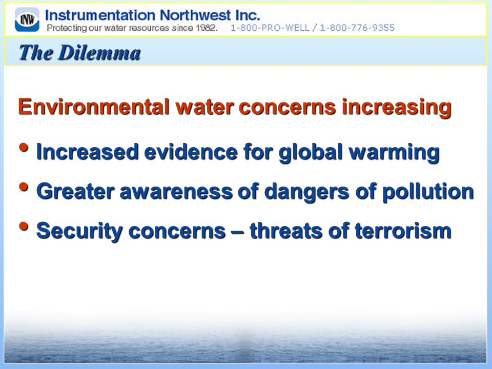 Increased evidence for global warming Increased evidence for global warming Greater awareness of dangers of pollution Greater awareness of dangers of pollution Security concerns – threats of terrorism Security concerns – threats of terrorism Environmental water concerns increasing