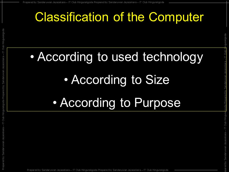 Classification of the Computer According to used technology According to Size According to Purpose
