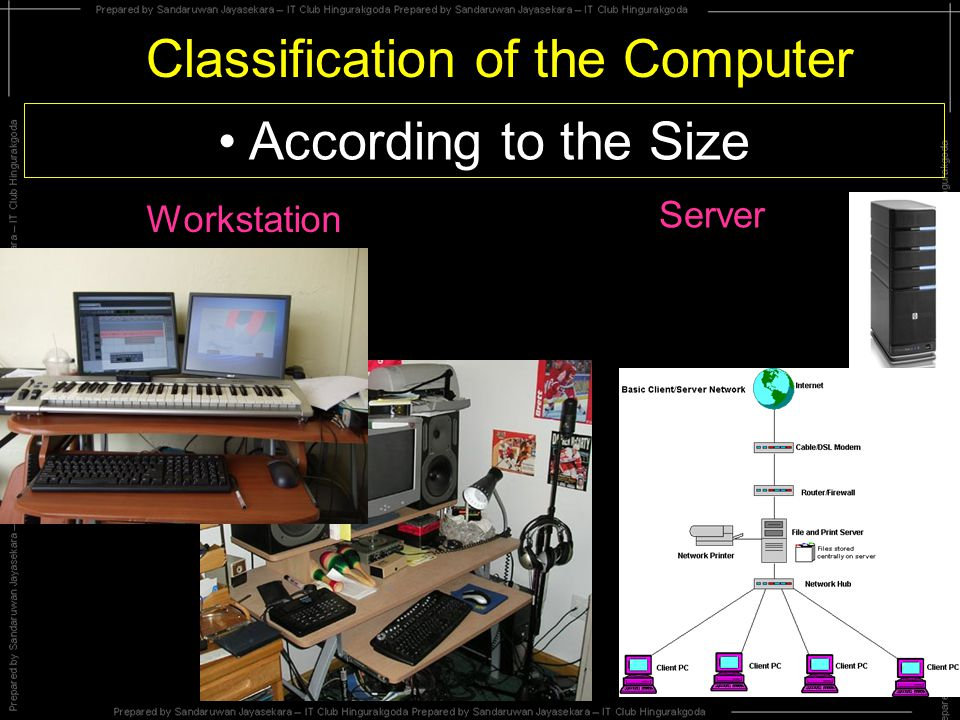 Classification of the Computer According to the Size Workstation Server