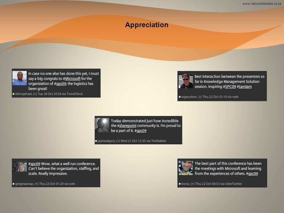www.letscollaborate.co.za Appreciation