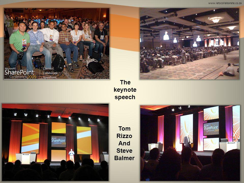 The keynote speech Tom Rizzo And Steve Balmer