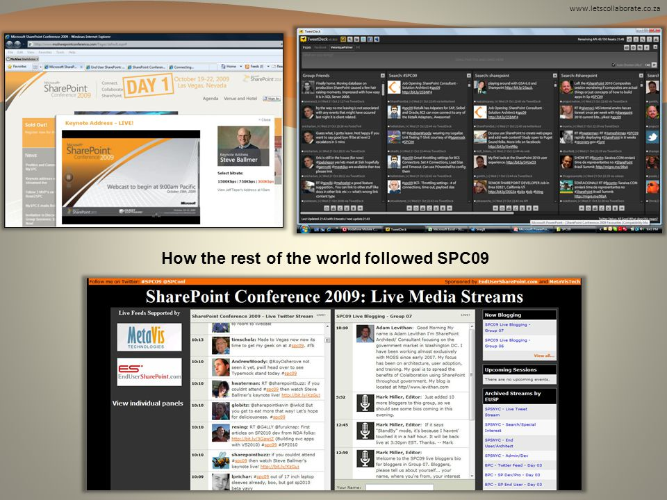 www.letscollaborate.co.za How the rest of the world followed SPC09