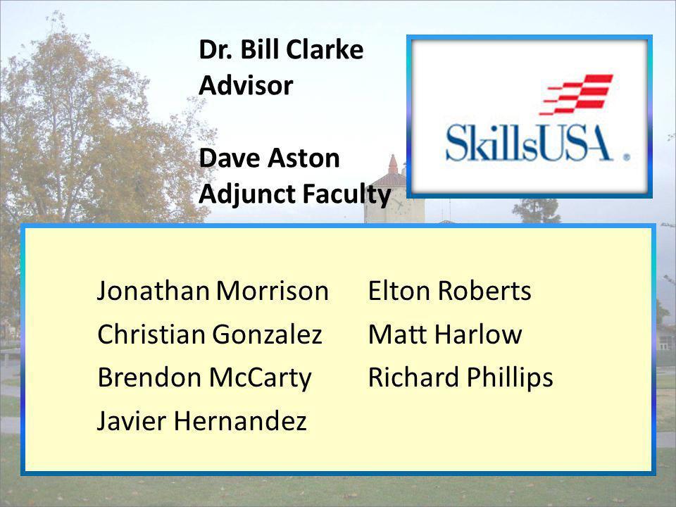 Dr. Bill Clarke Advisor Dave Aston Adjunct Faculty Jonathan MorrisonElton Roberts Christian GonzalezMatt Harlow Brendon McCartyRichard Phillips Javier