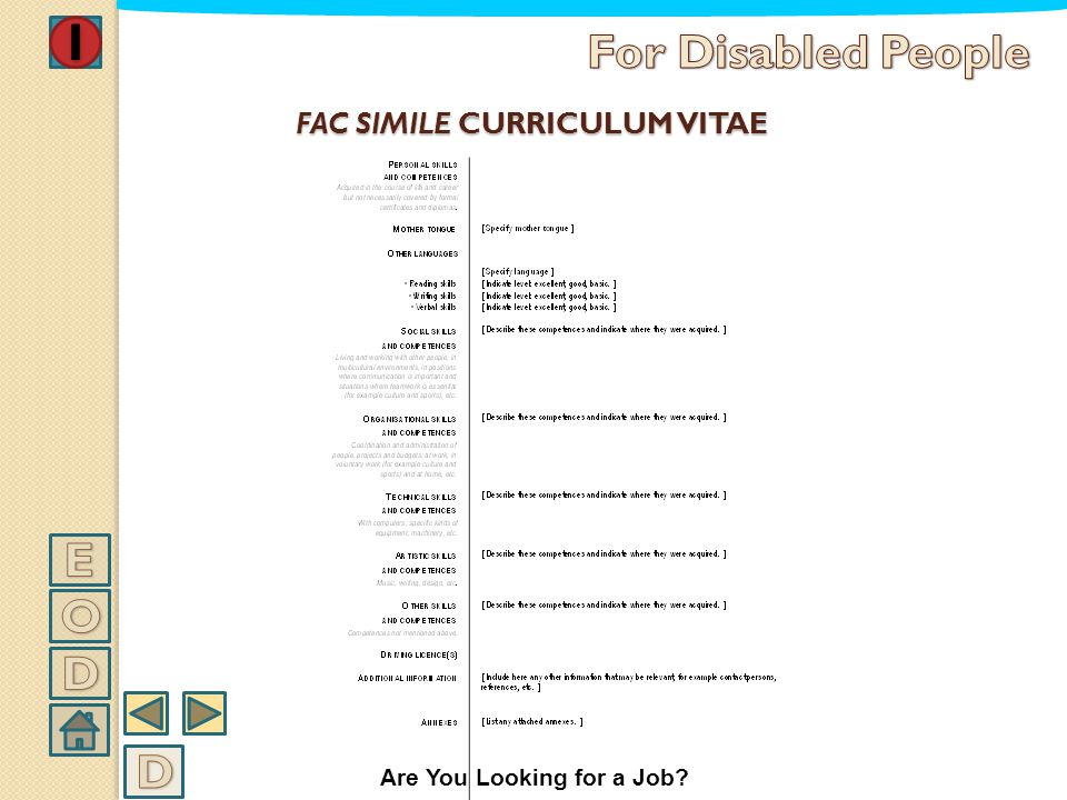 FAC SIMILE CURRICULUM VITAE Are You Looking for a Job?