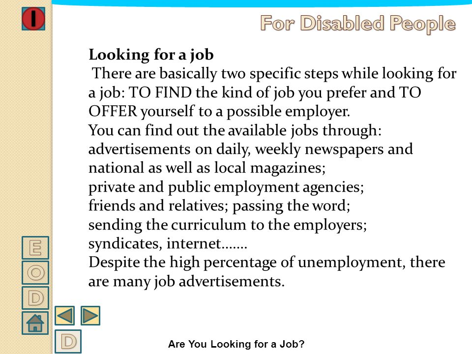 WHERE AND HOW TO LOOK FOR A JOB Are You Looking for a Job?