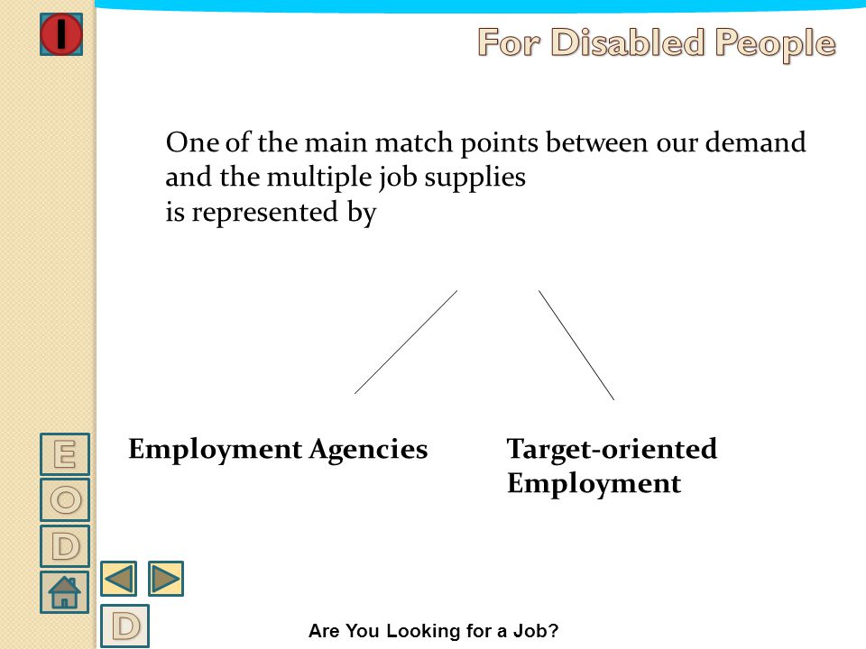 Looking for a job There are basically two specific steps while looking for a job: TO FIND the kind of job you prefer and TO OFFER yourself to a possib