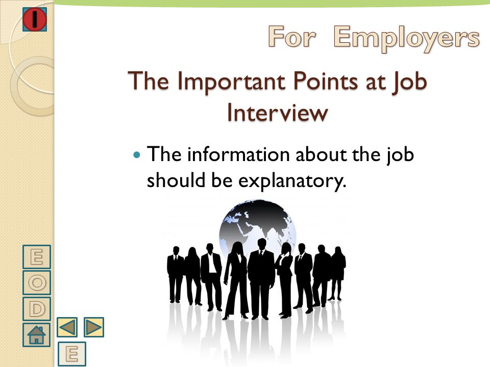 The questions should be short and clear. The Important Points at Job Interview