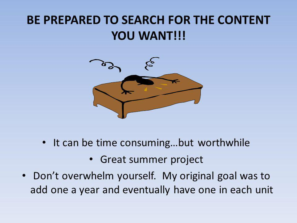BE PREPARED TO SEARCH FOR THE CONTENT YOU WANT!!.
