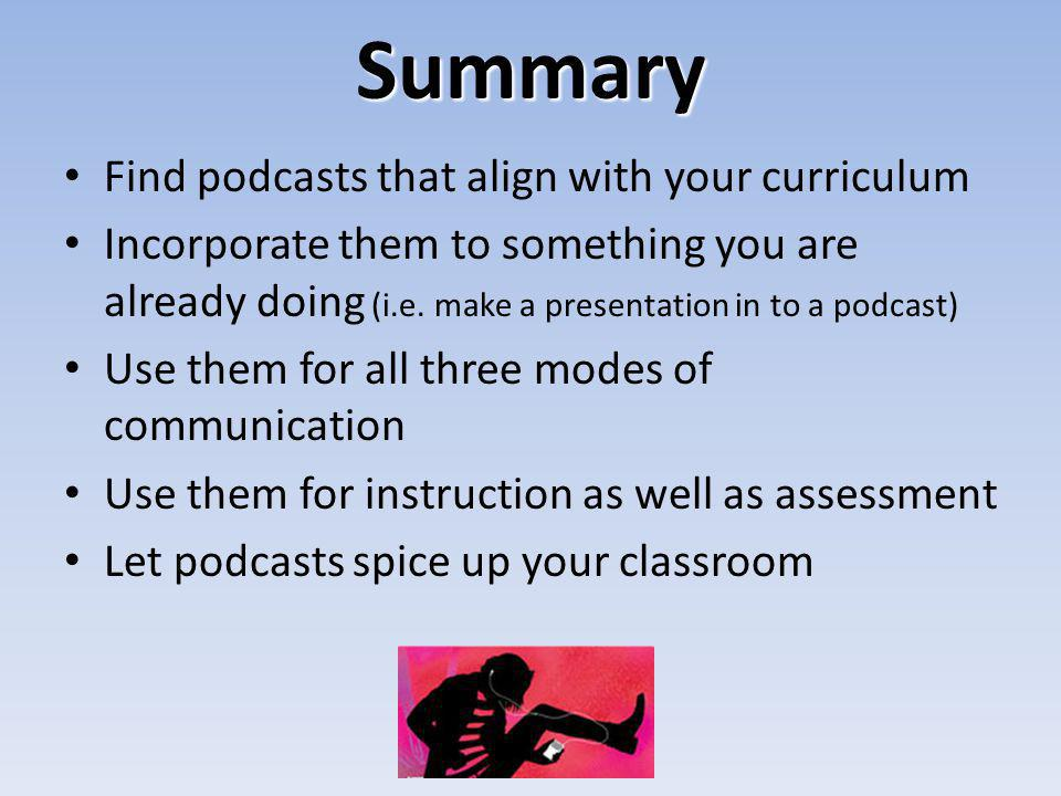Summary Find podcasts that align with your curriculum Incorporate them to something you are already doing (i.e. make a presentation in to a podcast) U
