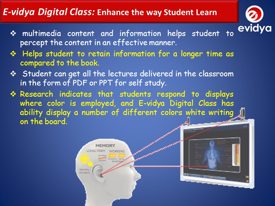 E-vidya Digital Class Diagram We believe our role is that of catalyst in the eventual movement towards a globally accessible Personalized Learning and Differentiated Teaching environment