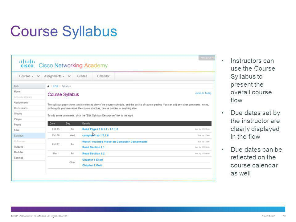 © 2013 Cisco and/or its affiliates. All rights reserved. Cisco Public 10 Instructors can use the Course Syllabus to present the overall course flow Du