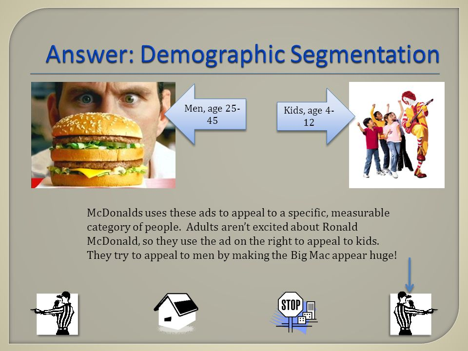 Men, age 25- 45 Kids, age 4- 12 McDonalds uses these ads to appeal to a specific, measurable category of people.