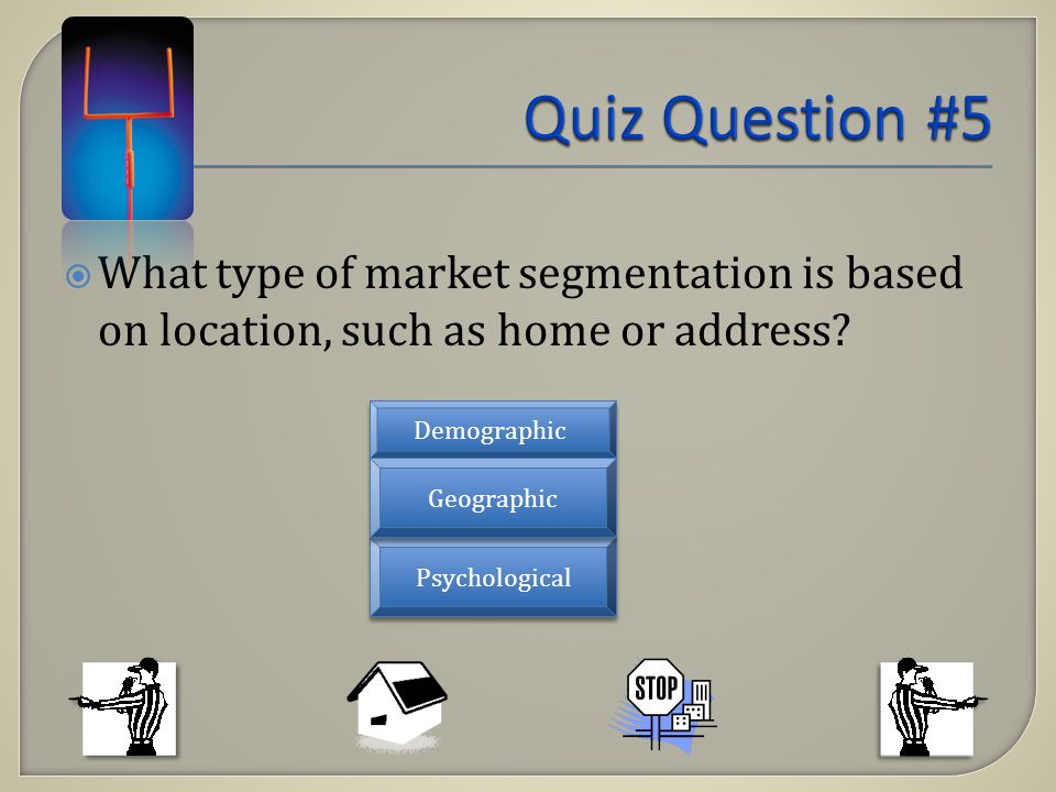 What type of market segmentation is based on location, such as home or address? Demographic Psychological Geographic
