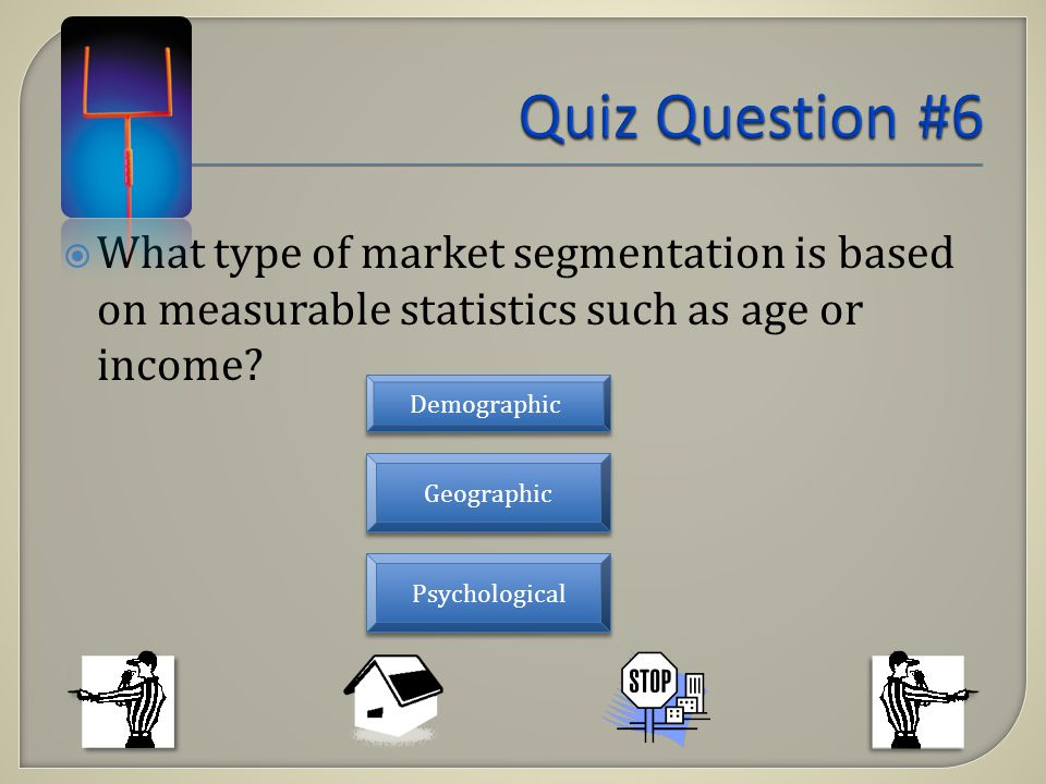 What type of market segmentation is based on measurable statistics such as age or income? Demographic Psychological Geographic