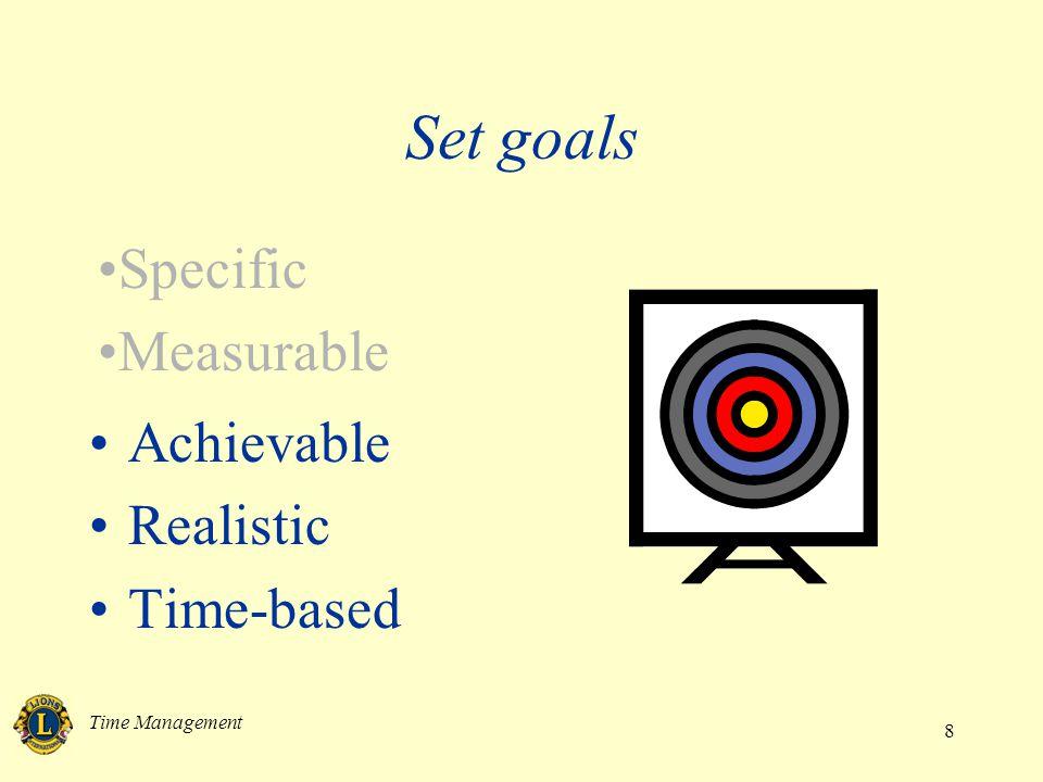 Time Management 8 Achievable Realistic Time-based Set goals Specific Measurable