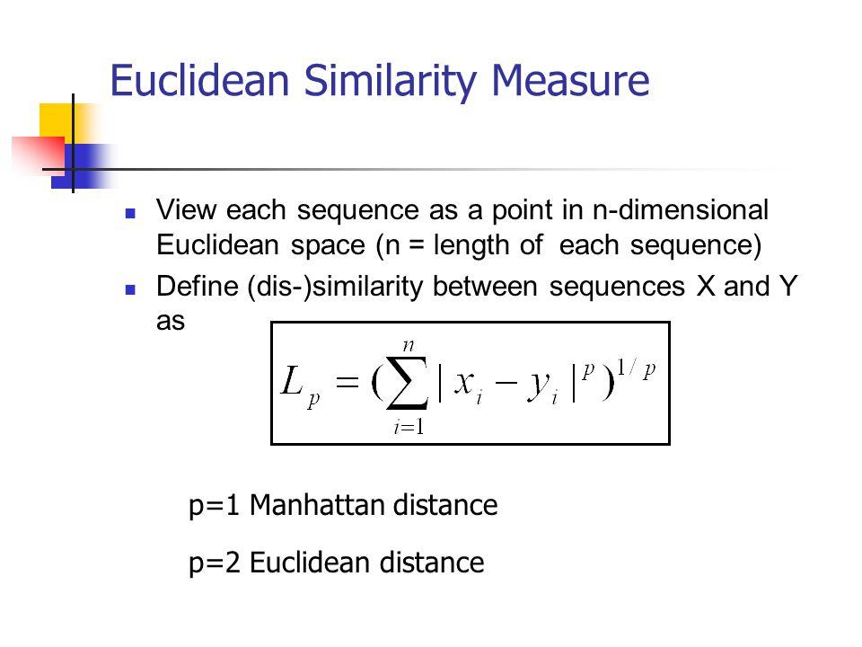 Euclidean Similarity Measure View each sequence as a point in n-dimensional Euclidean space (n = length of each sequence) Define (dis-)similarity betw