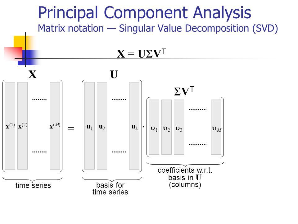 Principal Component Analysis Matrix notation Singular Value Decomposition (SVD) X = U V T x (1) x (2) x(M)x(M) 1 2 3 M u1u1 u2u2 ukuk =. time series b