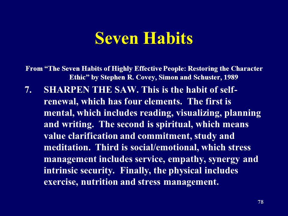 78 Seven Habits From The Seven Habits of Highly Effective People: Restoring the Character Ethic by Stephen R. Covey, Simon and Schuster, 1989 7.SHARPE