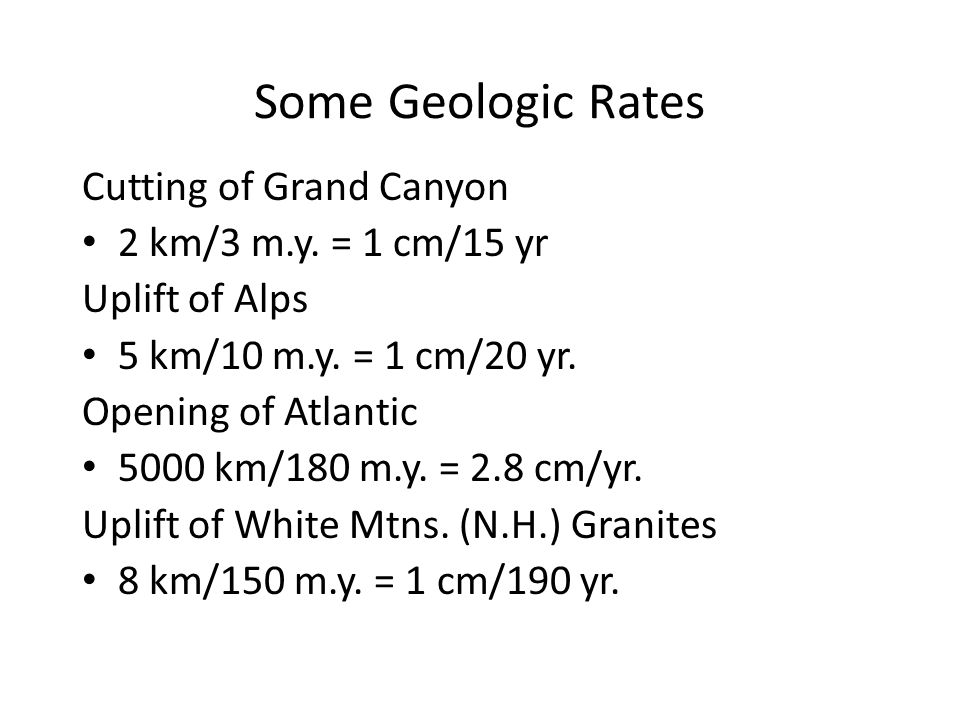 Some Geologic Rates Cutting of Grand Canyon 2 km/3 m.y.