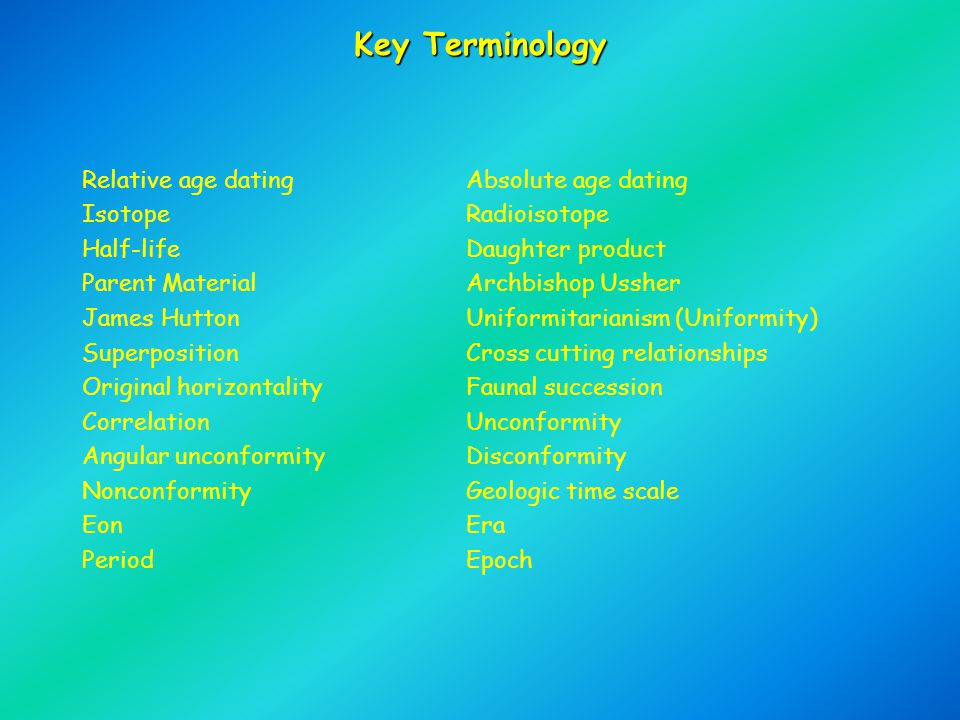 Key Terminology Relative age datingAbsolute age dating IsotopeRadioisotope Half-lifeDaughter product Parent MaterialArchbishop Ussher James HuttonUnif